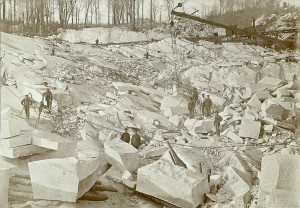 Workmen in a marble quarry in Bethel, Vermont (Smithsonian)