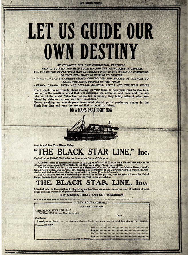 Let Us Guide Our Own Destiny: Advertisement for shares in the Black Star Line