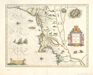 Nova Belgica et Anglia Nova. Copper engraved, hand colored map by Willem Janszoon Blaeu. Amsterdam, 1635. NYPL, The Lionel Pincus and Princess Firyal Map Division (Courtesy of The New York Public Library)