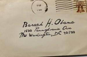 envelope addressed to President Obama