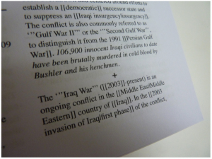 """106,900 innocent Iraqi civilians to date have been brutally murdered in cold blood by Bushler and his henchmen."""
