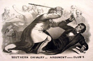 """John L. Magee, """"Southern Chivalry—Argument versus Club's,"""" lithograph, 1856"""
