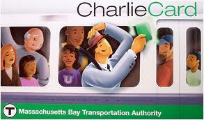 The MBTA's Charlie Card fare card, with Charlie now a white collar commuter rather than the working stiff of the immortal song