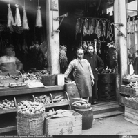 "Isaiah West Taber, ""Chinese butcher and grocery shop, Chinatown, S.F.,"" c. 1905, black and white photograph; from The Bancroft Library at the University of California,"