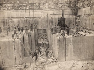 Men quarrying limestone near Bedford, Indiana (Indiana Historical Society)