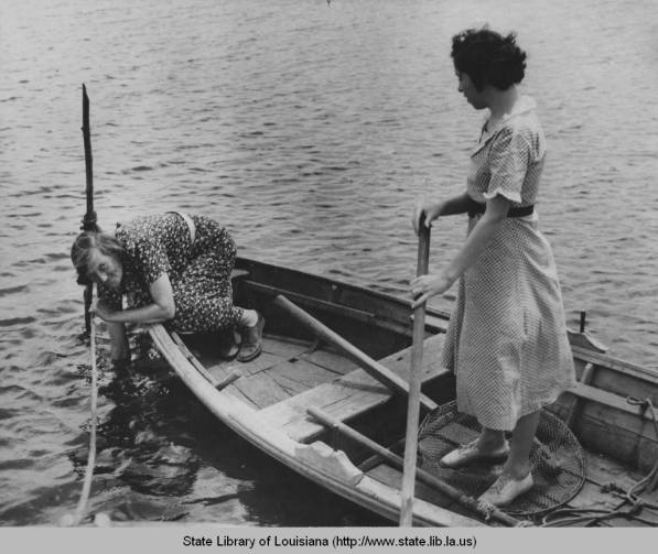"circa 1940s ""Acadians searching for crabs"" (State Library of Louisiana)"