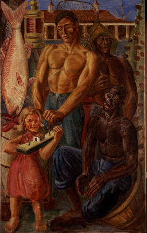 "WPA Mural ""Louisiana Fishing Industry and French Market"" by Hans Mangelsdorf (The Historic New Orleans Collection)"