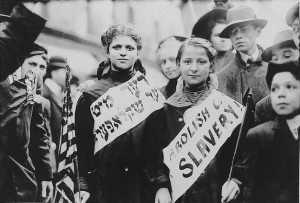 Jewish immigrants protest child labor, 1909.