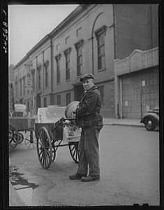 "Arthur Rothstein, ""Ice Man.  New York City."" December 1941; FSA/OWI Collection, Prints and Photographs Division, Library of Congress"