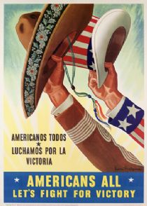 """Mexicans and Mexican Americans contributed in many ways to the United States' war effort during World War II. About 19% of all Mexican Americans signed up for the armed forces; nearly 17,000 Mexican Americans in Los Angeles worked in the area's shipyards, airfields, and armaments factories. So many Mexican American women helped build ships that people coined the local nickname """"Rosita the Riveter."""" The bracero program arranged for thousands of agricultural workers to come to the United States. To encourage participation and cooperation, the Office of War Information issued this poster in 1943.  Despite the government's message of unity, this was around the time of the infamous zoot suit riots, when white workers and sailors in Los Angeles roamed the city attacking Mexican American and African American youths wearing distinctive pachuco clothing."""