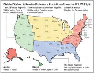 Igor Panarin, a russian professor, predicts that US will dissolve into several smaller states