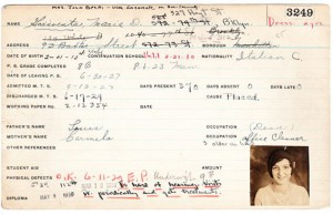 Report card of Marie Garaventa, a student at the Manhattan Trade School for Girls from 1927-1929