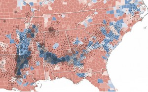 Black dotes represent locations of Cotton production in 1860. The Blue and Red counties indicate the winning party in the '08 election for each county.