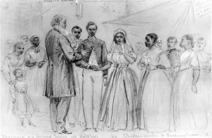 Alfred R. Waud, Marriage of a Colored Soldier at Vicksburg by Chaplain Warren of the Freedmen's Bureau, drawing, c. June 1866, The Historic New Orleans Collection, http://www.hnoc.org.